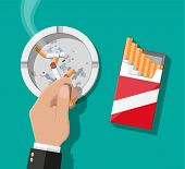 White ceramic ashtray full of smokes cigarettes. Crockery for smoking. Cigarette paper package top view. Vector illustration in flat style poster