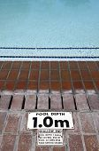 pool depth sign at the edge of the swimming pool knysna western cape province south africa poster
