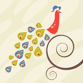 Retro-style peacock on a swirly curl vine. poster