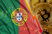 Portugal flag and cryptocurrency falling trend with many golden bitcoins poster