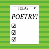 Conceptual hand writing showing Poetry. Business photo showcasing Literary work Expression of feelings ideas with rhythm Poems writing Search Bar with Magnifying Glass Icon photo on White Screen. poster