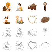 Vector illustration of evolution  and prehistory symbol. Set of evolution  and development  stock symbol for web. poster