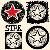 abstract hand drawn icons, doodle star poster