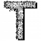 black and white floral ABC, letter T poster