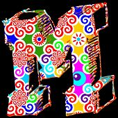 carnival ABC, abstract letter M isolated on black background poster