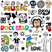 funny music doodles isolated on white background poster