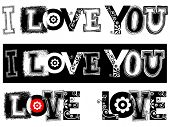 I LOVE YOU inscription isolated on white background poster