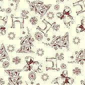 scribble Christmas design elements, childlike seamless doodles poster