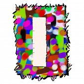 childlike graffiti alphabet, hand drawn letter I isolated on white background poster