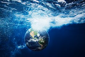Illustration Of Planet Earth Underwater. Conceptual Nature Background. Elements Of This Image Furnis