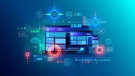 Cross Platform Website, App Design Development On Laptop, Phone, Tablet. Technology Of Create Softwa
