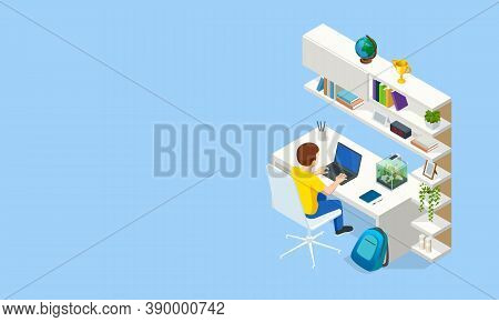Isometric Contemporary Workplace For A Student. Interior Modern Living Room Workspace With Desk And