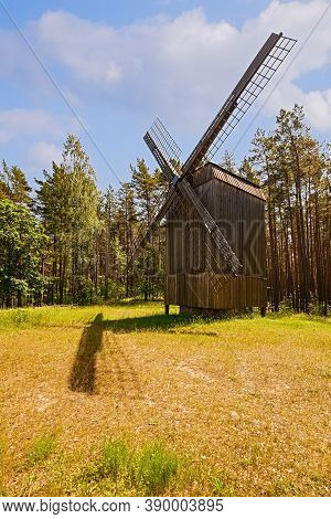 Old Wooden Windmill In Rural Area, Riga, Latvia