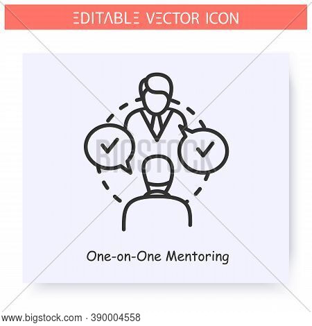 One On One Mentoring Line Icon.mentor Shares Experience To Mentee.individual Training.job Interview.