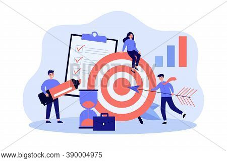 Tiny People Working In Team For Target Or Goal Isolated Flat Vector Illustration. Cartoon Employees
