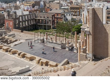 Cartagena, Spain - April 12, 2017: Views Of The Roman Theatre Of Cartagena, Spain. It Was Built Betw