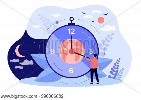 Twenty-four-hour Cycle Isolated Flat Vector Illustration. Cartoon Tiny Characters Near Clock With Da