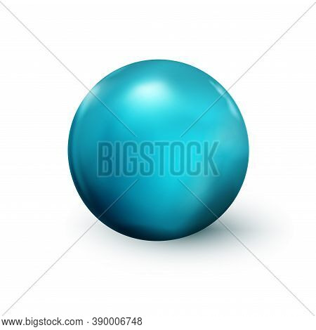 Blue Sphere, Ball. Mock Up Of Clean Round The Realistic Object, Orb Icon. Design Decoration Round Sh