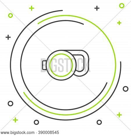 Line Retractable Cord Leash With Carabiner Icon Isolated On White Background. Pet Dog Lead. Animal A