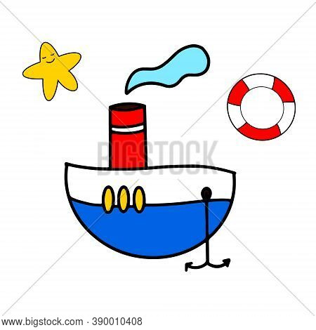 A Small Hand Drawn Steamboat, Lifebuoy And Star