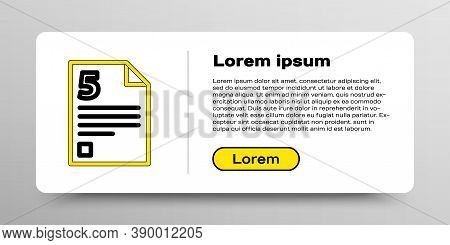 Line Test Or Exam Sheet Icon Isolated On White Background. Test Paper, Exam Or Survey Concept. Color
