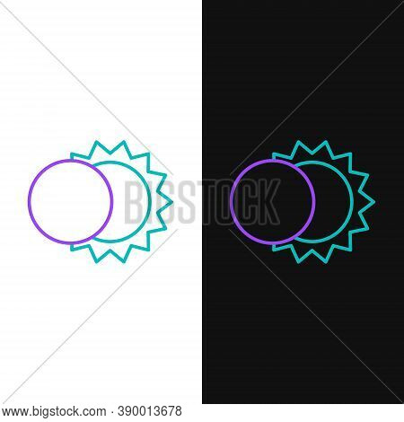 Line Eclipse Of The Sun Icon Isolated On White And Black Background. Total Sonar Eclipse. Colorful O