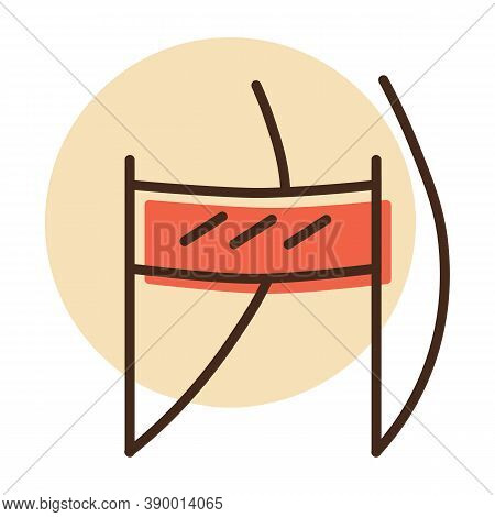 Finish Line Of Ski Slope Vector Icon. Winter Sign. Graph Symbol For Travel And Tourism Web Site And
