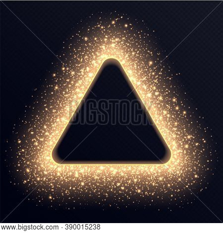 Golden Triangle Frame With Sparkles And Flares, Abstract Luminous Particles, Background With Bright