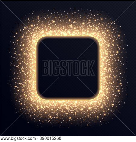Golden Square Frame With Sparkles And Flares, Abstract Luminous Particles, Background With Bright St