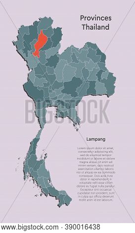 Asia Country Thailand Map, Province Map Lampang
