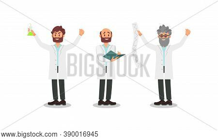 Bearded Man Scientists In White Gown Holding Flask And Writing Research Vector Illustration Set