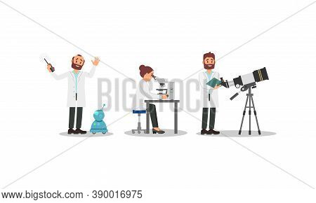 Bearded Man And Woman Scientists In White Gown Controlling Robot And Doing Microbiology Research Vec