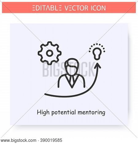High Potential Mentoring Line Icon. Mentoring Of Pretendents On Leadership Or Executive Roles.guidan