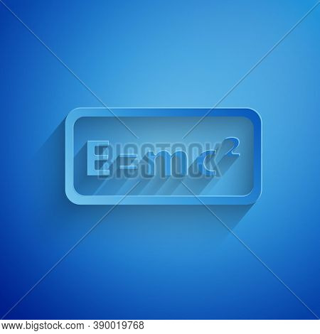 Paper Cut Math System Of Equation Solution Icon Isolated On Blue Background. E Equals Mc Squared Equ