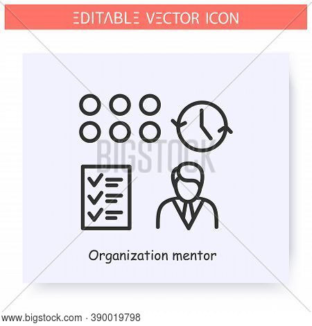 Organization Mentor Line Icon. Career Development Assistant. Operation Management. Guidance Consulti