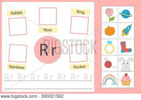 Alphabet Tracing Worksheet For Preschool And Kindergarten. Writing Practice Letter R. Exercises With