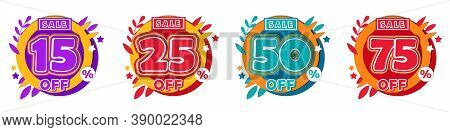 Fifteen, Twenty Five, Fifty Or Seventy Five Percent Sale, Mega Sale , Super Offer Concept. Different