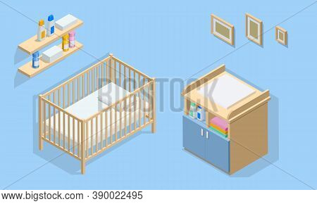 Isometirc Interior Furniture For Baby Room. Cot, Changing Table, Wall Shelf And Photo Frames. Icons
