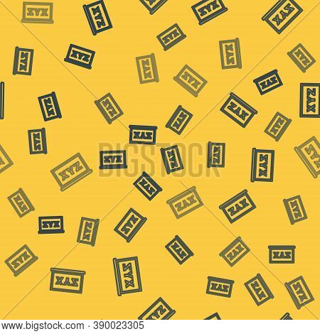 Blue Line Xyz Coordinate System On Chalkboard Icon Isolated Seamless Pattern On Yellow Background. X