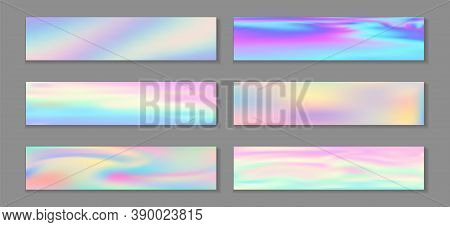 Holographic Minimal Flyer Horizontal Fluid Gradient Unicorn Backgrounds Vector Set. Iridescent Holog