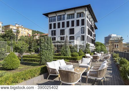 Opatija, Croatia - September 6, 2020 - Sunny Terrace, In The Background Hotel Royal In Opatija, Istr