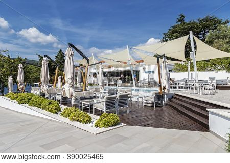 Rabac, Croatia - August 29, 2020 - Modern Beat Beach Bar With All Accompanying Contents In Rabac, Is