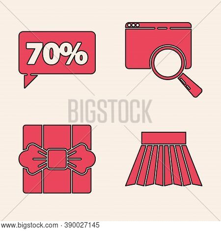 Set Skirt, Seventy Discount Percent Tag, Search In A Browser Window And Gift Box Icon. Vector