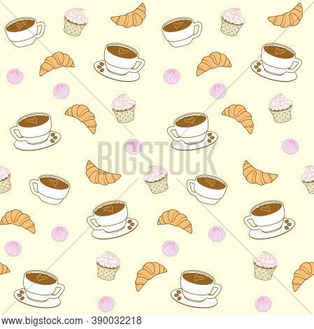 Coffee Cups, Croissants, Cupcakes, Muffins And Meringues On A Pale Yellow Background. Vector Seamles