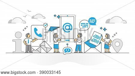 Contact Us With Phone Or Email For Info Assistance Monocolor Outline Concept. Information Communicat