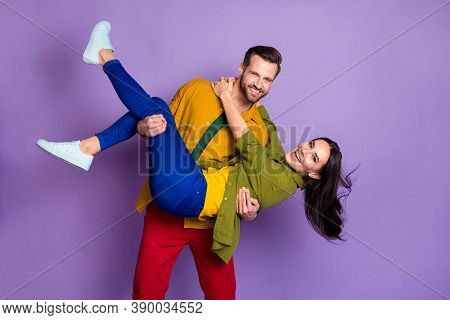 Photo Charming Lady Handsome Fiance Guy Couple Carry Wife Bride Hold Arms Playful Wedding Day Swingi