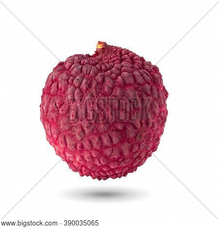 Fresh Lychee Or Litchi Is Tropical Fruit Isolated Over White Background