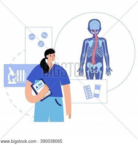 Spine Xray Anatomy In Boy Body. Spinal Pain In Backbone, Rehabilitation Center. Scoliosis, Osteoporo