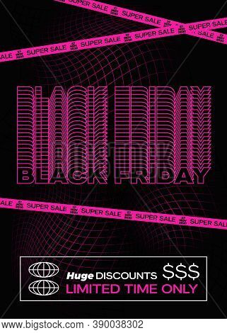 Black Friday Purple Typography Banner, Poster Or Flayer Template. Creative Fading Grid Background Co