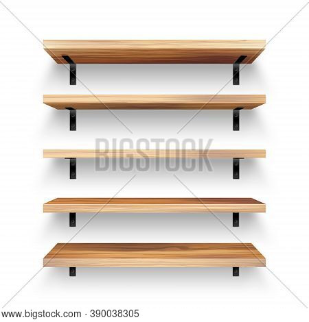 Realistic Empty Wooden Store Shelves Set. Product Shelf With Wood Texture And Black Wall Mount. Groc